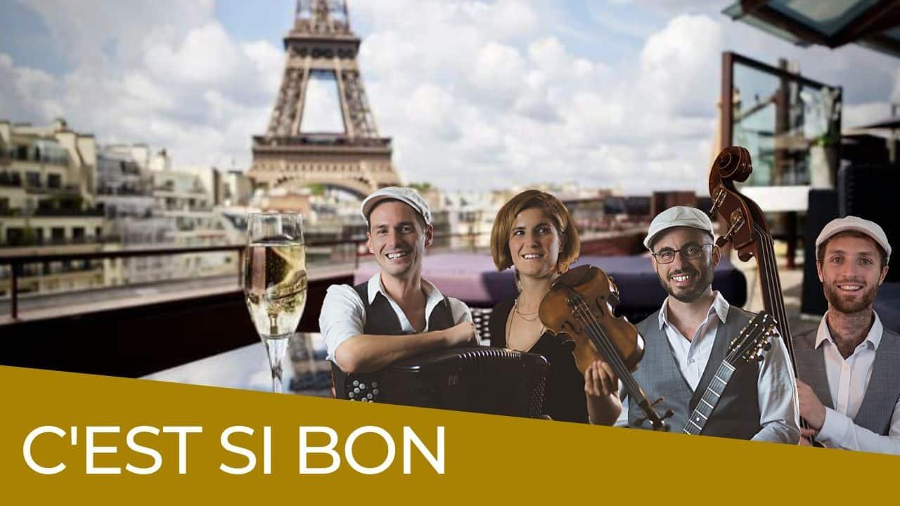 vignette C'est Si Bon par un groupe de jazz manouche avec accordéon