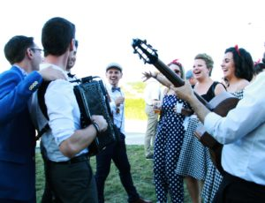 french accordionist during a wedding celebration
