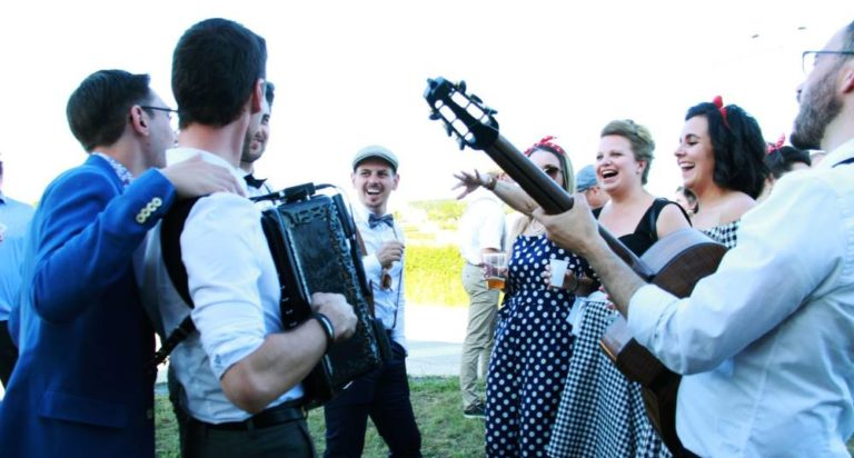 a french accordionist during a wedding celebration in France